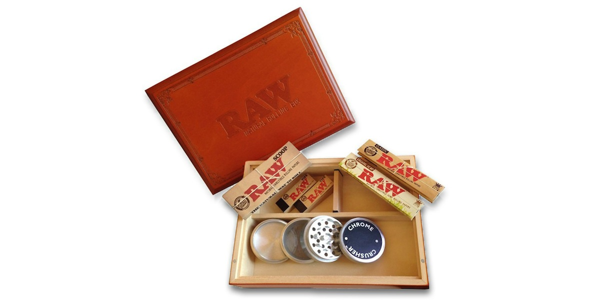 The RAW wood rolling box with extras makes a great gift for your favorite stoner