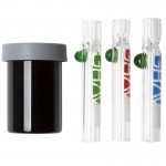 This road trip kit is a great gift for the stoner or smoker in your life! Glass tasters plus a glass jar.