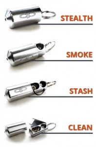 This wicked informational graphic shows the Piece Pipe keychain pipe's four modes: stealth, smoke, stash and clean.