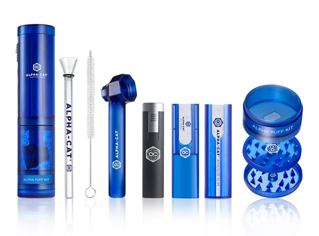 The Alpha Cat Puff Kit is loaded with everything you need for smoking on the go!