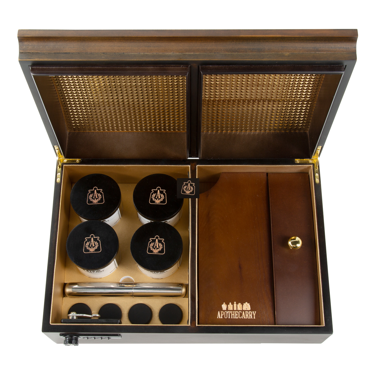 Cannabis humidor holds four strains in a beautiful wood case.