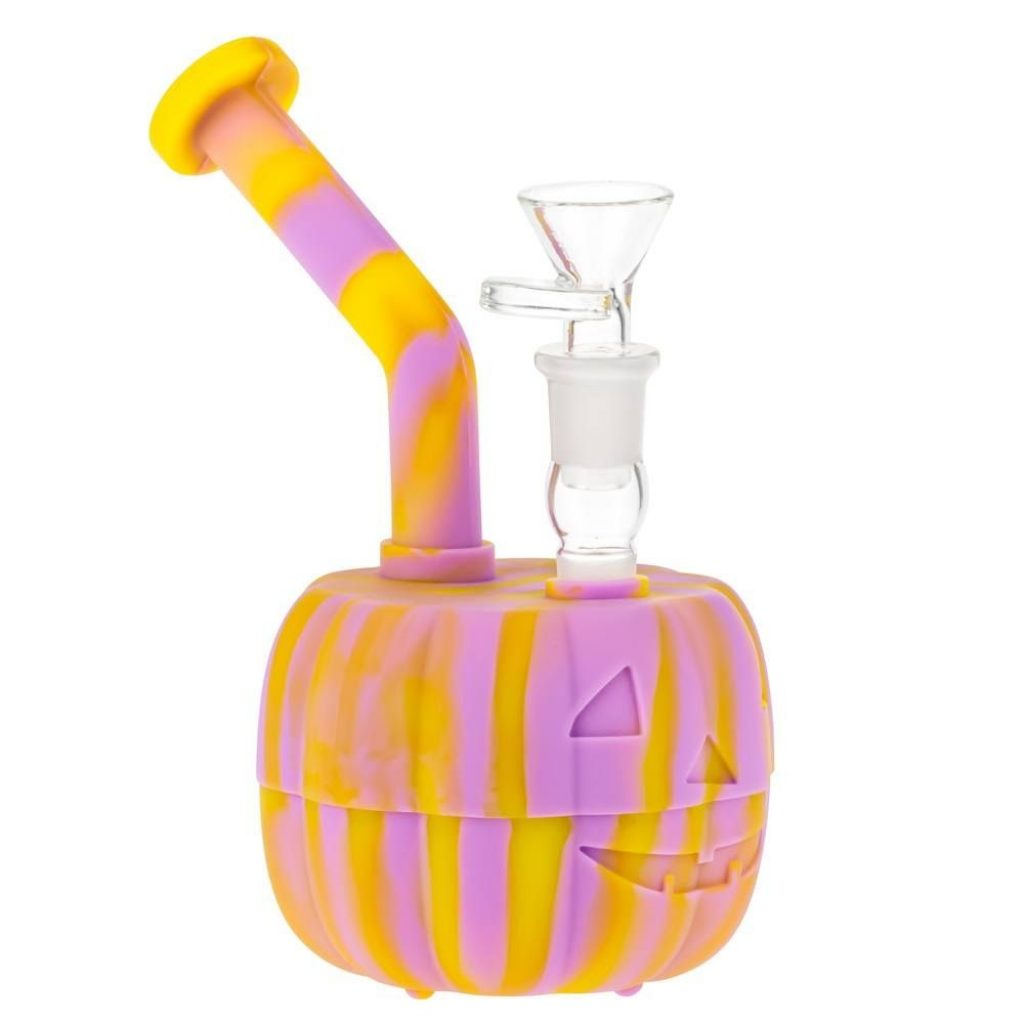 Halloween themed pumpkin bong made of silicone.