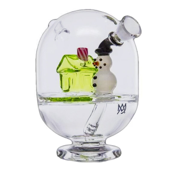 Holiday cheer is here with this winter themed glass smoking piece, a holiday cabin bubbler from MJ Arsenal
