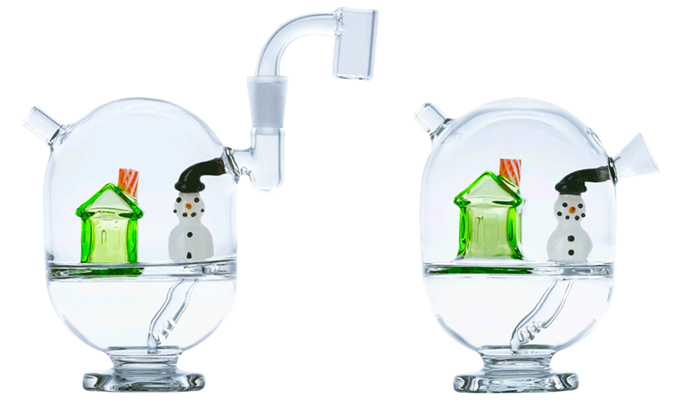A glass mini rig and rollie bubbler with holiday themed snowmen and candy canes, Hotbox Cabin from MJ Arsenal..