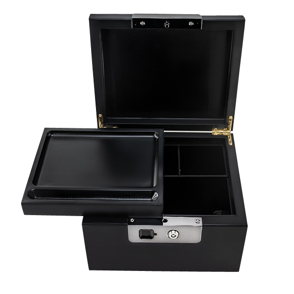 This locking stash safe comes with a beautiful rolling tray that sits atop the ample storage area.
