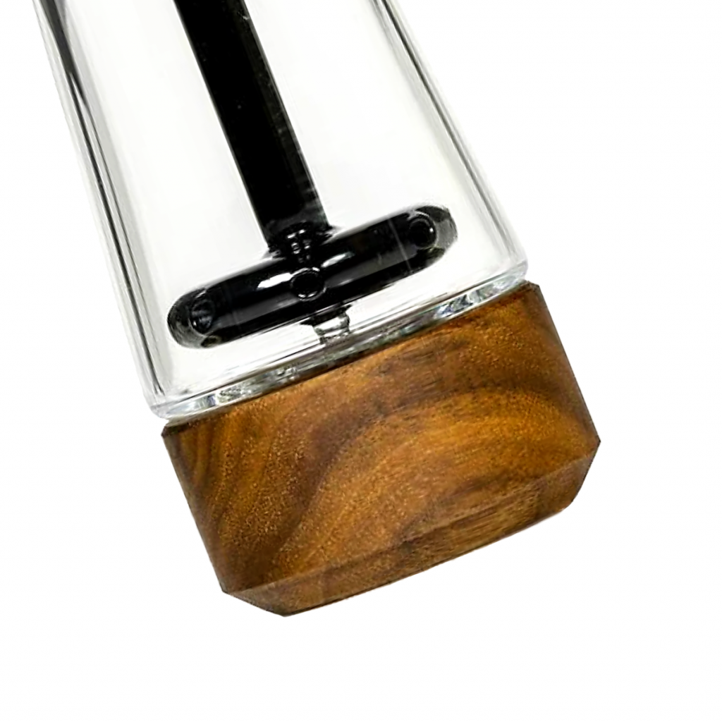This luxury smoking accessory is a water filtered bubbler crafted of glass and wood.